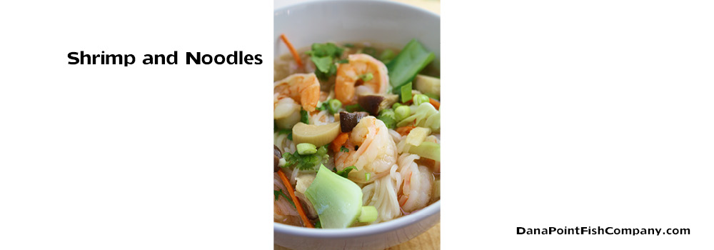 Food Photography: Asian Shrimp and Noodles in Broth